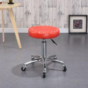 Ghế xoay spa inox 4 chân màu đỏ